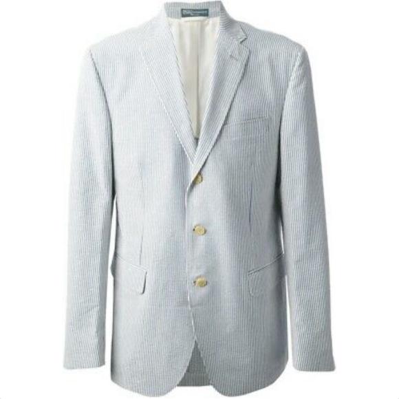 POLO RALPH LAUREN Light Blue Striped Blazer Size L